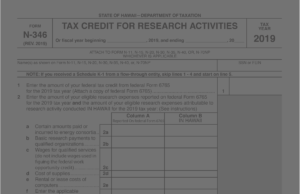 Screenshot of tax credit for research activities form