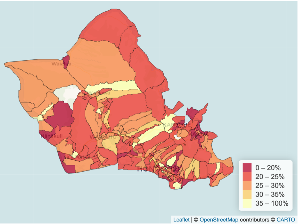 Share of Oahu residents who stayed home all day