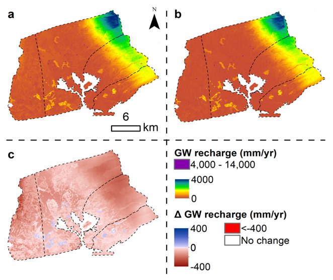 Groundwater recharge under baseline land-cover and (a) baseline and (b) RCP 8.5 mid-century rainfall